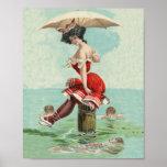 Vintage Victorian Bathing Beauty Lady Ocean Poster