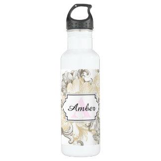 Vintage Victorian Beige floral vines pattern 710 Ml Water Bottle