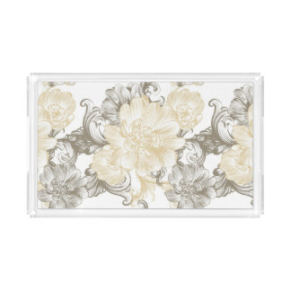 Vintage Victorian Beige floral vines pattern Acrylic Tray