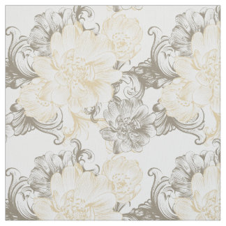 Vintage Victorian Beige floral vines pattern Fabric