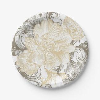 Vintage Victorian Beige floral vines pattern Paper Plate