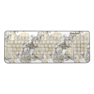 Vintage Victorian Beige floral vines pattern Wireless Keyboard