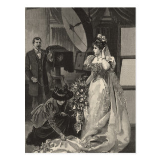 Vintage Victorian Bride, Bridal Portrait Postcard