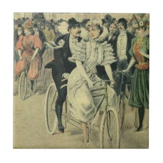 Vintage Victorian Bride Groom Ride Tandem Bicycle Ceramic Tile