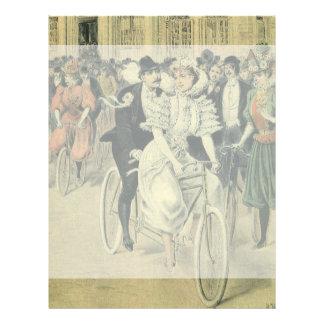 Vintage Victorian Bride Groom Ride Tandem Bicycle Personalized Letterhead
