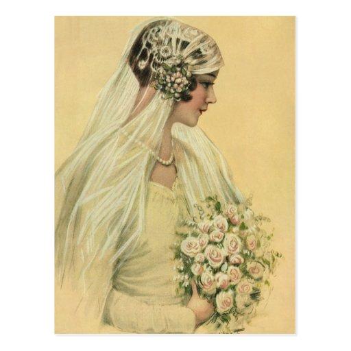 Vintage Victorian Bride in Profile Bridal Portrait Postcards