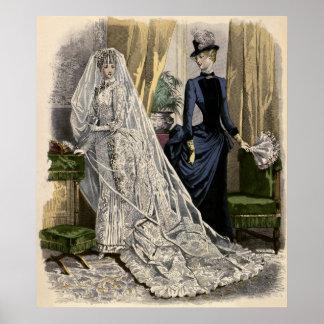 Vintage Victorian Bride, Wedding Bridal Portrait Poster
