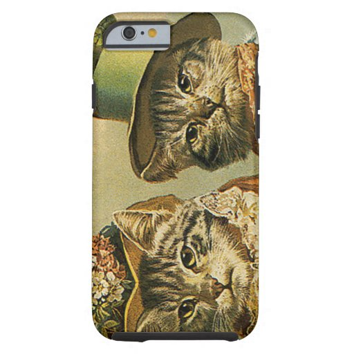 Vintage Victorian Cats in Hats, Funny Silly Humor iPhone 6 Case
