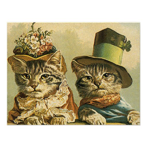 Vintage Victorian Cats in Hats, Funny Silly Humor Invitations