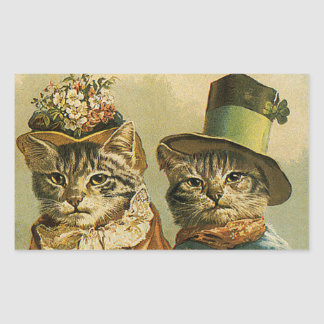 Vintage Victorian Cats in Hats, Funny Silly Humor Rectangular Sticker