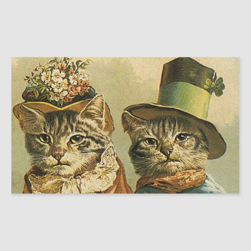 Vintage Victorian Cats in Hats, Funny Silly Humor Sticker