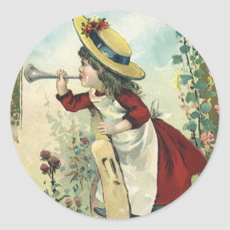 Vintage Victorian Child, Girl Blowing Bugle Meadow Round Sticker