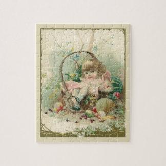 Vintage Victorian Child, Girl Spring Fruit Basket Jigsaw Puzzle
