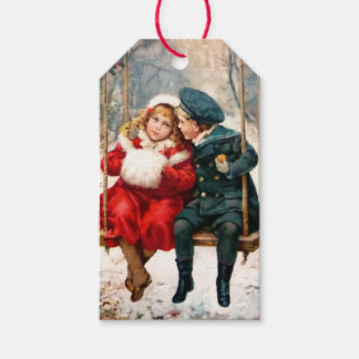Vintage Victorian Children on Swing Gift Tag