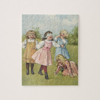 Vintage Victorian Children Playing Blindfold Games Jigsaw Puzzle