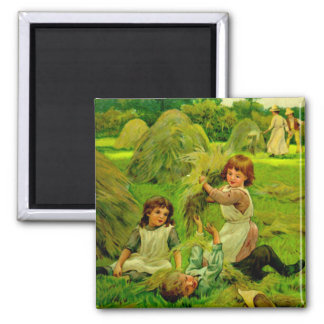 Vintage Victorian Children Playing Hay Magnet