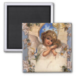 Vintage Victorian Christmas Angel with Bells Ivy Refrigerator Magnet
