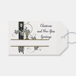 Vintage Victorian Christmas Art Deco Holly Basket Gift Tags