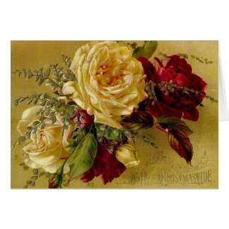 Vintage Victorian Christmas Card with Flowers