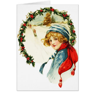 Vintage Victorian Christmas Card With Young Boy