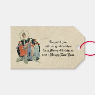 Vintage Victorian Christmas Carolers Holiday Aged Gift Tags