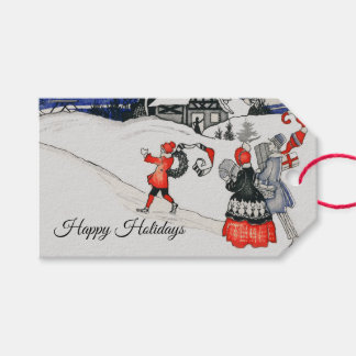 Vintage Victorian Christmas Family Holiday Snow Gift Tags