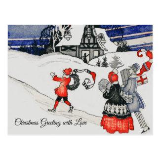 Vintage Victorian Christmas Family Holiday Snow Postcard