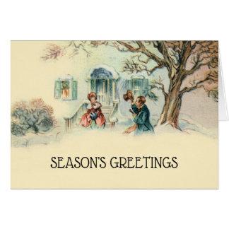 Vintage Victorian Christmas Greetings Neighbor Card