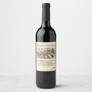 Vintage Victorian Christmas Happy Holiday New Year Wine Label
