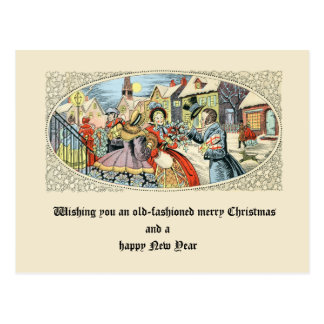 Vintage Victorian Christmas Holiday Shoppers Postcard