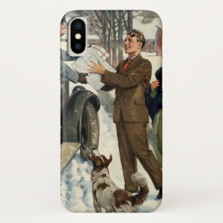 Vintage Victorian Christmas Mailman Delivery Case-Mate iPhone Case