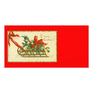 Vintage Victorian Christmas Sled n Holly Print Personalized Photo Card