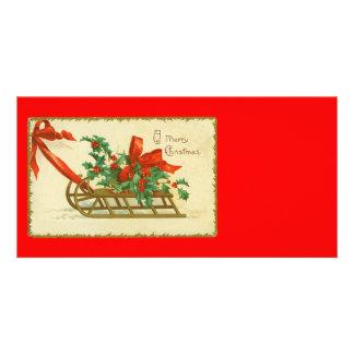 Vintage Victorian Christmas Sled n Holly Print Custom Photo Card