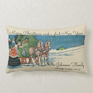Vintage Victorian Christmas Sleigh Ride Family Lumbar Pillow