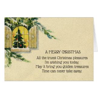 Vintage Victorian Christmas Tree Holiday Window Card