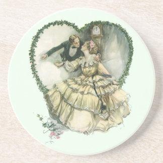 Vintage Victorian Christmas Wedding Drink Coasters