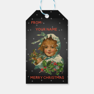 Vintage Victorian Cloaked Girl Snow Christmas Gift Tags