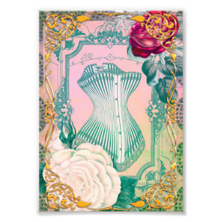 Vintage Victorian Corset and Roses Pink and Blue Photo Art