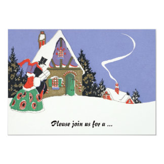 """Vintage Victorian Couple Going to Christmas Party 5"""" X 7"""" Invitation Card"""