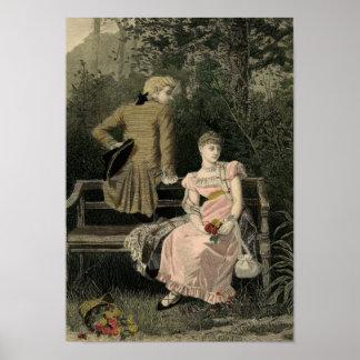 Vintage Victorian Couple on Bench Art Print