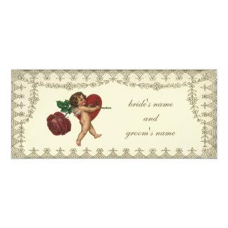 Vintage Victorian Cupid Heart Wedding Invitation