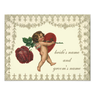 Vintage Victorian Cupid with Red Rose Heart RSVP Card