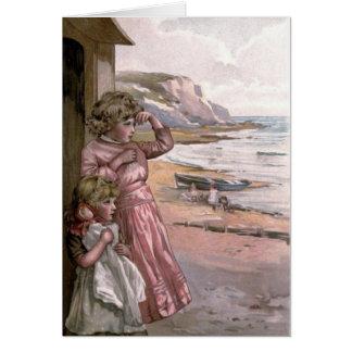 Vintage Victorian & Cute: Children at the Beach Card