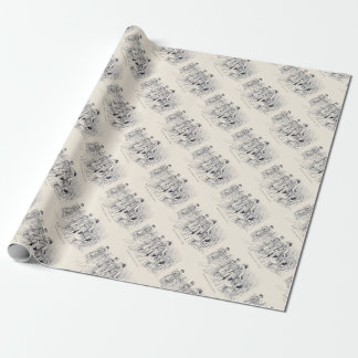 Vintage/Victorian Cyclists Engraving Wrapping Paper