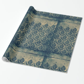 Vintage Victorian Damask Leaf Wallpaper Border Wrapping Paper