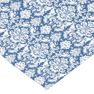 Vintage Victorian Damask Navy Blue White Floral Short Table Runner