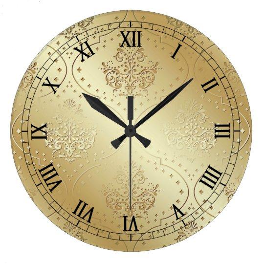 Vintage Victorian Damask Print Clock