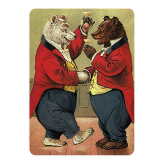 Vintage Victorian Dancing Bears Engagement Party Card