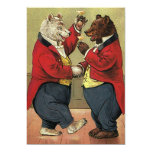 "Vintage Victorian Dancing Bears Save the Date 5"" X 7"" Invitation Card"