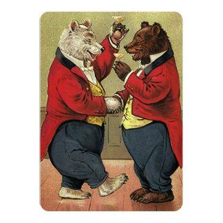 Vintage Victorian Dancing Bears Wedding Invitation